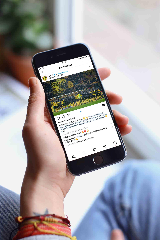 Die BVB Instagramseite wird auf einem Smartphone dargestellt.