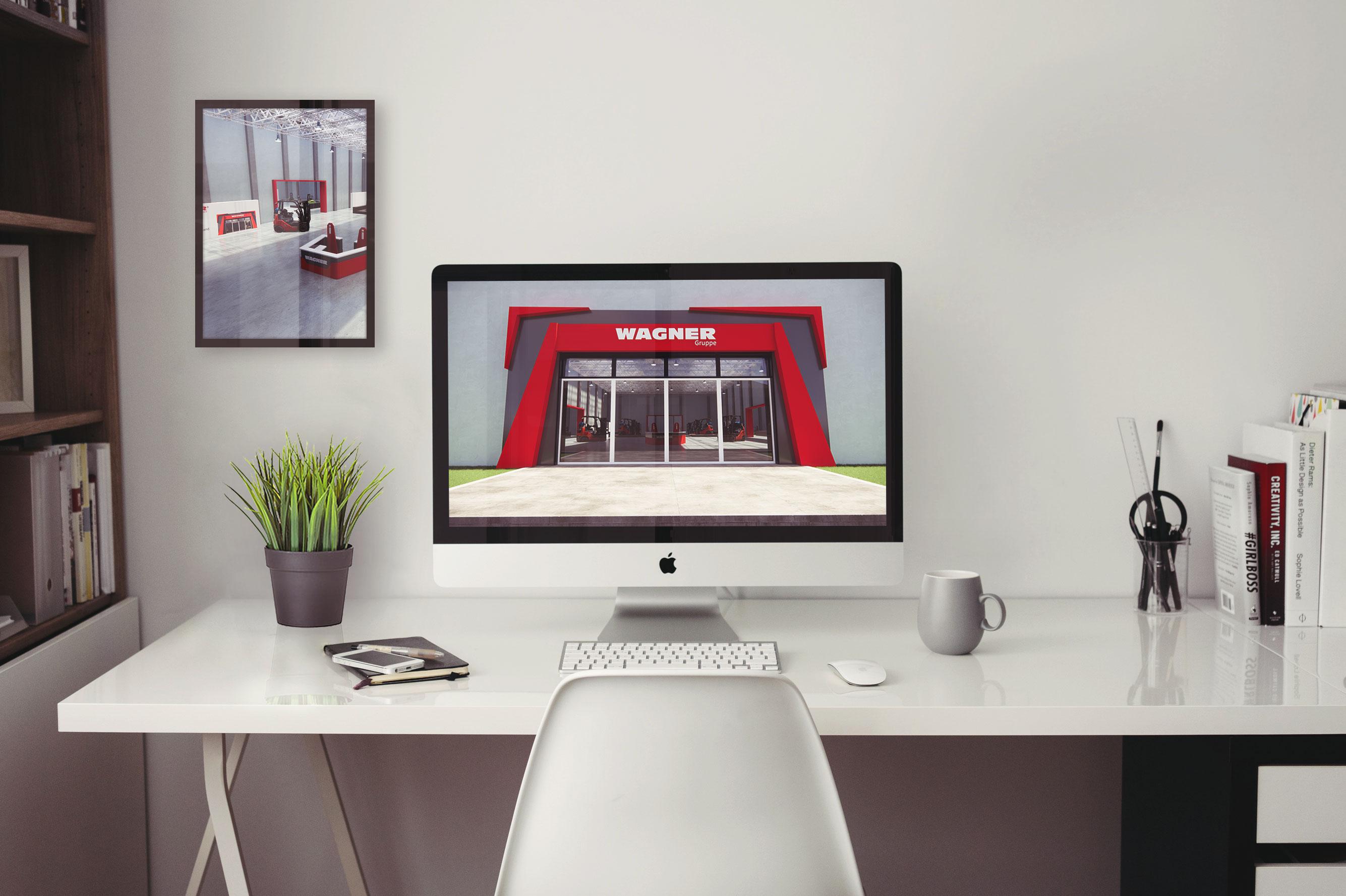 Darstellung einer Referenz in einem PC Bildschirm und einem Bild an der Wand