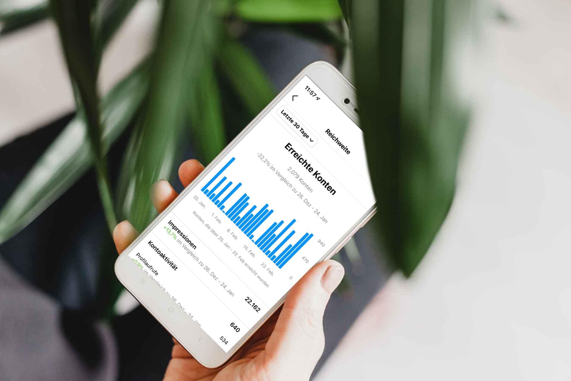 Instagram Insights werden auf einem Mobilgerät dargestellt.