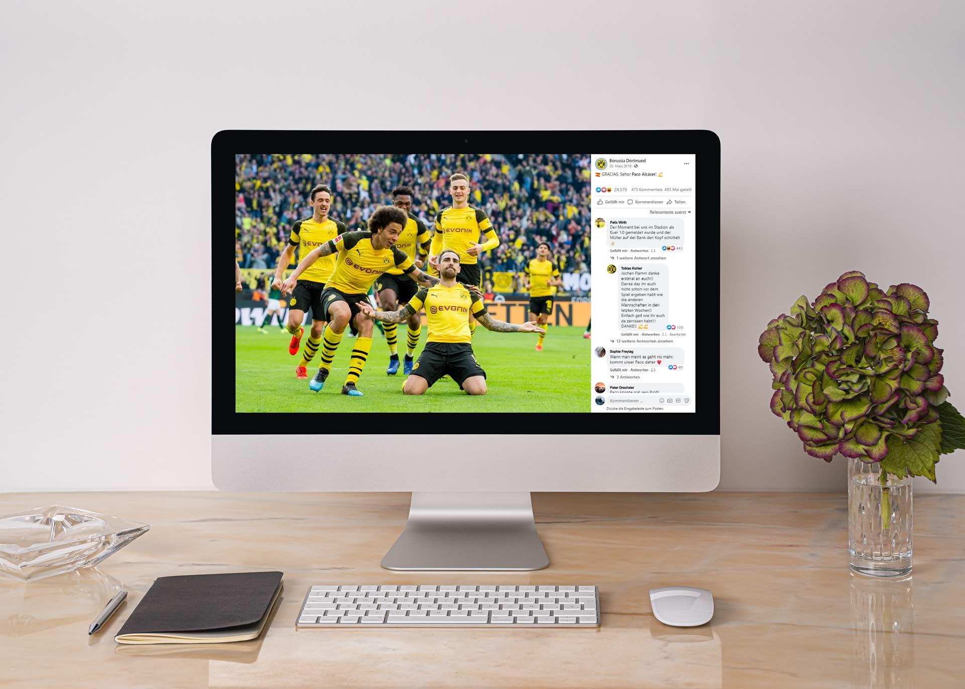 Die BVB Facebook Seite wird auf einem PC dargestellt.