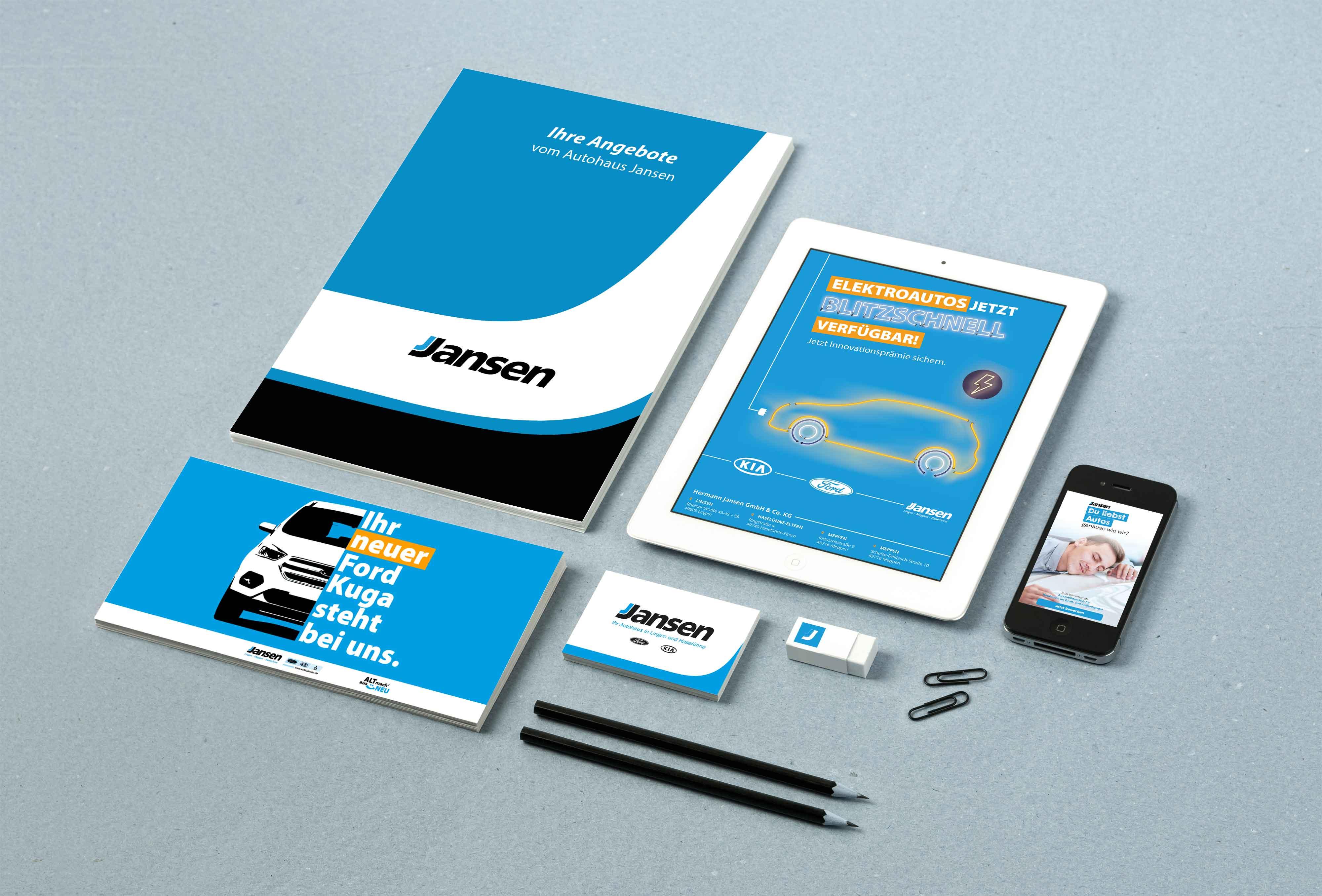 Referenz wird auf Prospekten und in einem Tablet dargestellt.